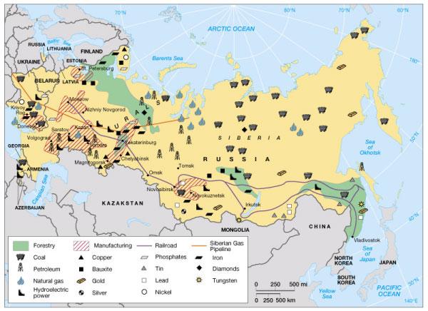Bản đồ khoáng sản nước Nga